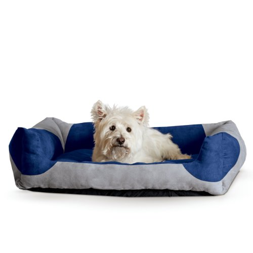 K&H Pet Products Classy Lounger Pet Bed Medium Gray/Blue 20-Inch by 25-Inch