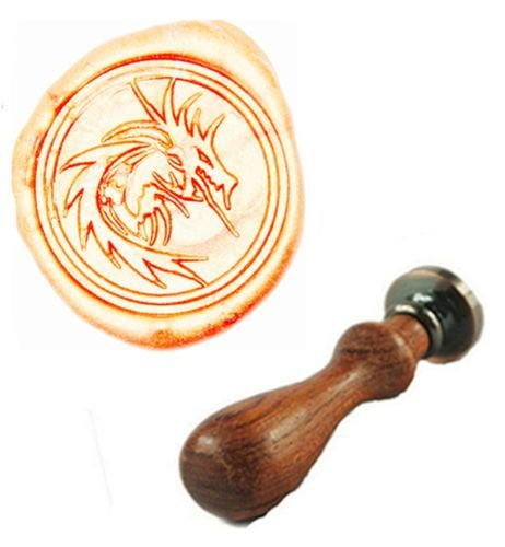 MDLG Vintage Filigree Fire Dragon Custom Picture Logo Wedding Invitation Wax Seal Sealing Stamp Rosewood Handle Set