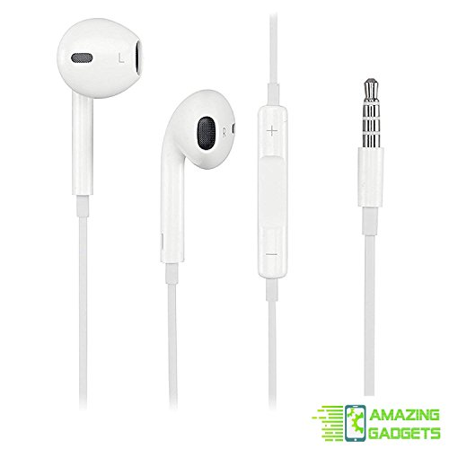 OEM iPhone Earbuds Headphones Earpods w/Volume Buttons and Microphone for iPhone 6 6S 6 Plus 6S Plus - Bulk Packaging - 100% Original by Amazing Gadgets Certified