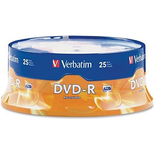 DVD-R Discs, 4.7GB, 16x, Spindle, Matte Silver, 25/Pack by Verbatim