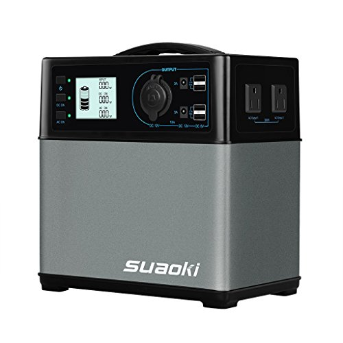 SUAOKI 400Wh/120,000mAh Portable Solar Generator Lithium ion Power Source Power Supply with Quiet 300W DC/AC Inverter, 12V Car, DC/AC/USB Outputs, Charged by Solar Panel/AC Outlet/Cars (Gadget Portable)