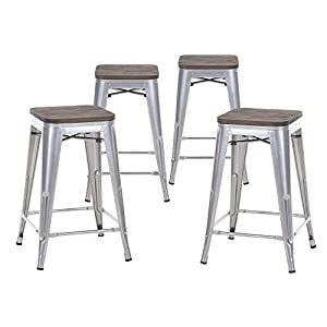Amazon Com Buschman Set Of Four Gray Wooden Seat 24