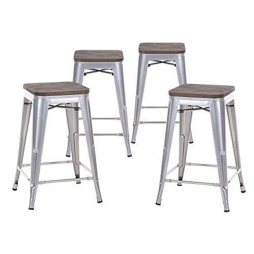 Buschman Set of Four Gray Wooden Seat 24 Inches Counter Height Metal Bar Stools, Indoor/Outdoor, Stackable