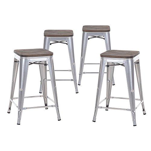 "Buschman Metal Bar Stools 24"" Counter Height, Indoor/Outdoor and Stackable, Set of 4 (Grey with Wooden Seat)"