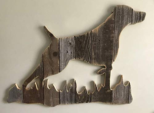 Wooden German Shorthaired Pointer with grass Silhouette made with reclaimed wood (sold-order yours now)