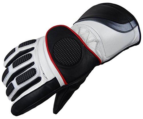 Motorradhandschuhe Winter Handschuh 6001 Bangla Leder schwarz weiss L