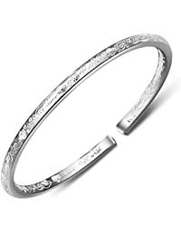 345b2f5126b Women's 999 Solid Sterling Silver Flower Carved Bangle Cuff Bracelets 21g  Weight for Wedding Gift