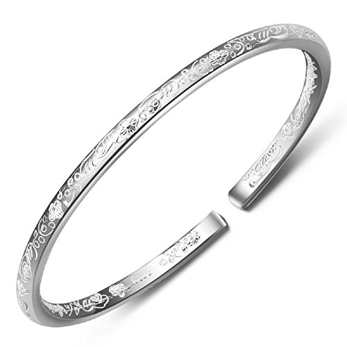 Women's 999 Solid Sterling Silver Flower Carved Bangle Cuff Bracelets 21g Weight For Wedding Gift