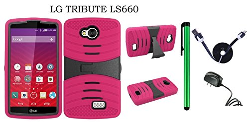 (LG Tribute LS660 Dual Layer Hybrid Case - UCASE Cover With Kickstand and Screen Installed + Travel (Wall) Charger + 1 of 1M/3Feet Stylish Micro USB To USB 2.0 Data Sync Charger Flat Cable + 1 of New Metal Stylus Touch Screen Pen (PINK))