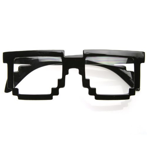 zeroUV - Pixelated 8-Bit Clear Lens Computer Nerd Geek Gamer Glasses (Shiny - Glasses Prescription Bit 8