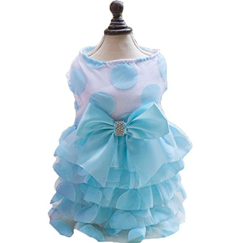 S-Lifeeling Bowknot Dress Sweet Shirts Spring Summer Teddy Dog Clothes Pet Costumes -