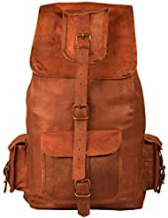 Leather Backpack Vintage Daypacks Hiking Laptop Casual Rucksack Bookbag