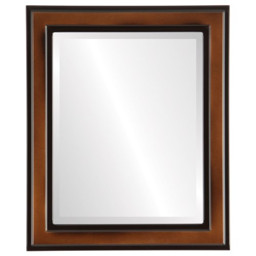 Rectangle Beveled Wall Mirror for Home Decor - Wright Style - Walnut - 20x24 outside dimensions