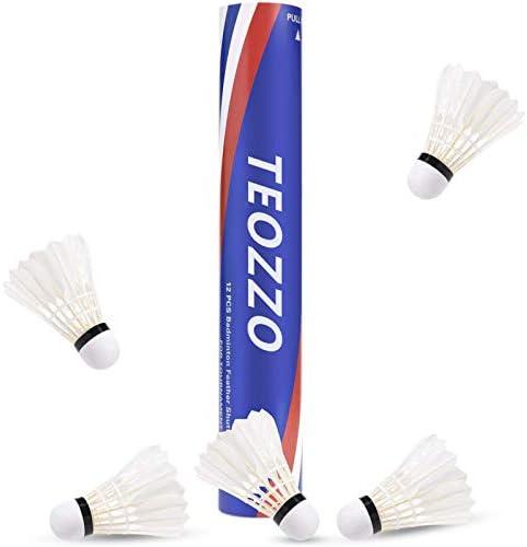 TEOZZO グースフェザーバドミントンシャトルコック 12個パック 安定して頑丈な高速バドミントンシャトル トレーニングシャトルコック 屋内外スポーツ用