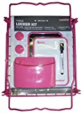LockerMate 7-Piece Locker Kit, Wire Stac-A-Shelf, Dry Erase Board & Marker, Magnetic Cup, Magnetic Mirror, 2 Magnets School Supplies (Pink)