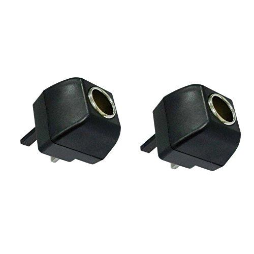 Ocamo Cigarette Lighter Socket 240V Mains Plug to 12V DC Car Charger Power Adapter British Regulatory 2pcs