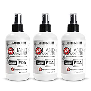 Adam's Hand Sanitizer (3 Pack) - USA Made Hand Sanitizing Spray | 75% Isopropyl Alcohol by Volume, Kills 99.9% of Germs, WHO Recommended | Fast Acting Antiseptic Disinfectant