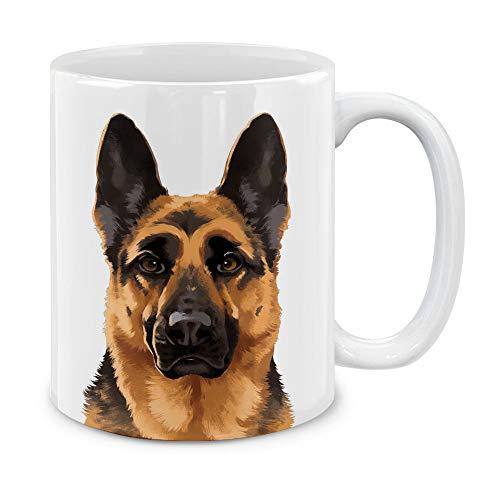 (MUGBREW Cute Black Tan German Shepherd Dog Full Portrait Ceramic Coffee Gift Mug Tea Cup, 11 OZ)