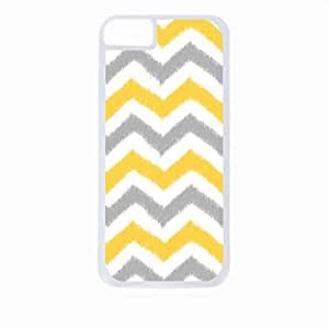 Grey and Mustard Ikat Chevrons- Case for the Apple Iphone 4-4s Universal-Hard White Plastic Outer Shell with Inner Soft Black Rubber Lining