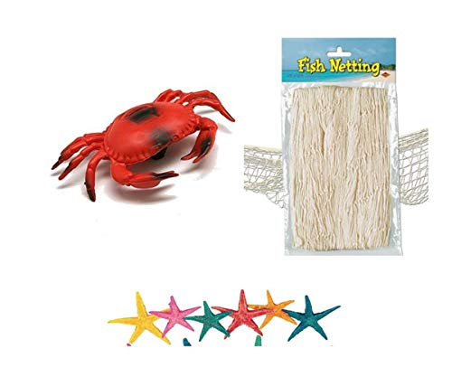Nature Fish Net Wall Decoration with Mini Colorful Starfish & Large Crab Decor Ocean Themed Wall Hanging Fishing Net Party Decor for Pirate Party,Wedding,Photographing -