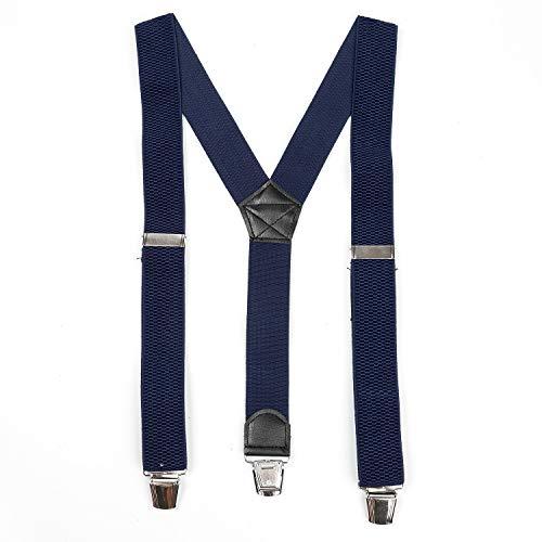 Suspenders - Tirantes anchos ajustables y elásticos para hombre, estilo en Y, resistentes, con clips fuertes, Azul marino,...
