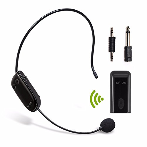 SHIDU U8 Multi-function UHF Wireless Lavalier Lapel Microphone 2 in 1 Headset and Mini Portable Receiver for Voice Amplifier,Speaker Compatible with Any AUX Audio Device-Black