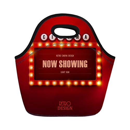 Semtomn Lunch Tote Bag Colorful Cinema Retro Light Sign Vintage Casino Bulb Signboard Reusable Neoprene Insulated Thermal Outdoor Picnic Lunchbox for Men Women]()