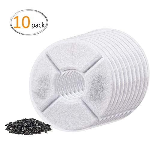 Flower Filled (MEWTOGO 10 Pack Cat Fountain Filters- Pet Water Fountain Replacement Filters Filled with Activated Carbon for 1.6L Cat Automatic Water Dispenser)