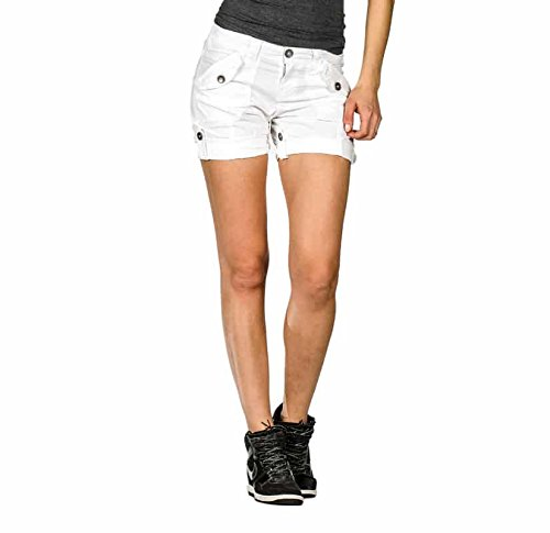 Suko Jeans Womens Convertible Stretch Poplin Bermuda Shorts 47050 White ()