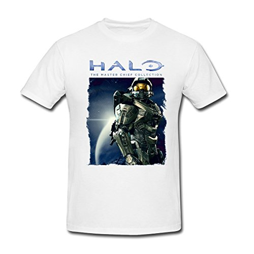 [Drong Men's The Master Chief John-117 Halo T-Shirt XL White] (Master Chief Suit For Sale)