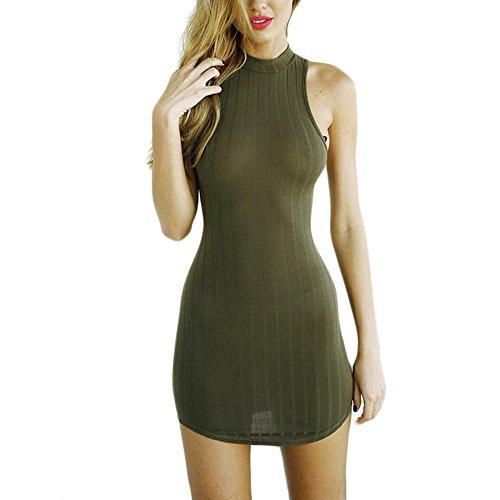ef58de7b8e Fastar vestidos de fiesta cortos para mujer Vestido sin mangas atractivo  del tubo ejercito verde 85