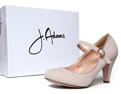 J. Tacchi Adams Mary Jane Kitten - Scarpa Vintage A Punta Smerlata Con Cinturino Regolabile - Miele Di Camoscio Nudo