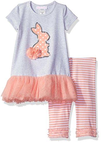 Bonnie Baby Girls' Appliqued Tutu Skirt Dress and Legging Set, Bunny, 12 Months (Appliqued Bunny)