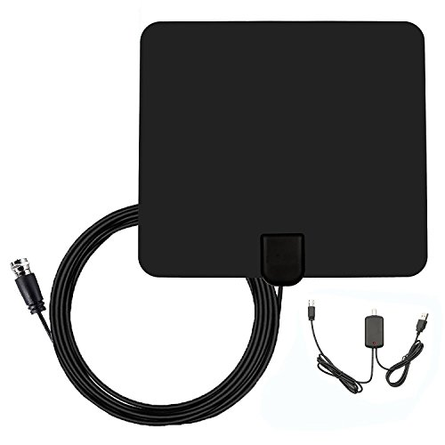 TV Antenna 1080P -50 Miles Range for Digital HDTV Indoor with Adjustable Amplifier Booster USB Power Supply and 13 Feet Coaxial Cable