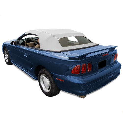Sierra Auto Tops Convertible Top Fits 1994-04 Ford Mustang (all models) with Heated Glass Window in Sailcloth Vinyl White (Convertible 1995 Top Mustang)