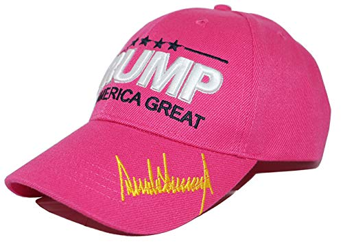 VPearl 45th President Trump Hat/Cap, Keep America Great 2020, Embroidery with American Flag Pink