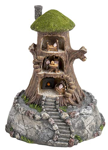 (Juvale Fairy Tree House - Fairy Gnome Garden Decorative Figurine Accessory, Polyresin, Indoor Outdoor Decoration, 7.8 x 9.5 Inches)