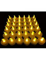 24 PCS LED Flameless Flickering Tea Lights Votive Candle Battery Operated/Electric Flicker LED Tealight Extra 20 Batteries Bulk Fake Candles for Halloween Christmas Wedding Party Decorations etc.