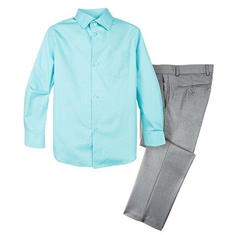 Spring Notion Boys' Dress Pants and Shirt 8 Light Grey/Aqua