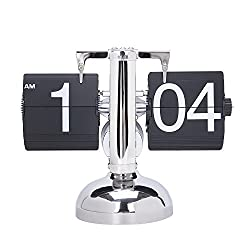 Desk Shelf Clocks Auto Flip Retro Digital Internal Gear Operated Table Mantel Clocks Single Metal Stand (Black)