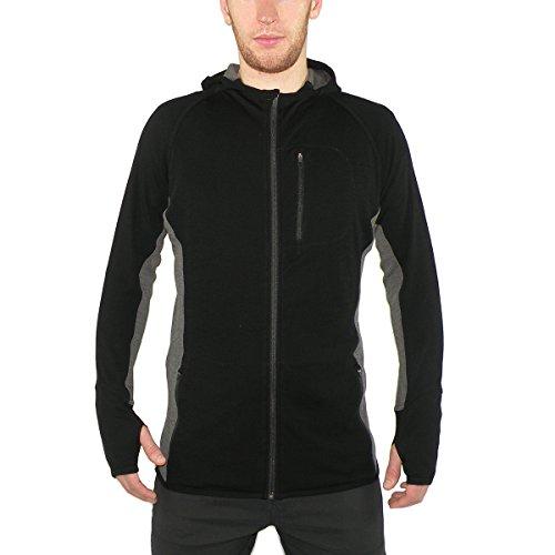 Minus33 Merino Wool Clothing Men's Trailblazer Midweight Wool Full Zip Hoody, Black, Medium
