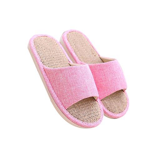 Cool 2 Pantoufles Anti En Automne Chaussures Tellw D'aspiration Maison odeur Sueur Rose Lin Couples Int¨¦rieur Femmes Saisons ¨¦t¨¦ Printemps De Quatre Hiver Sandales Coton Linge FSqwCOS