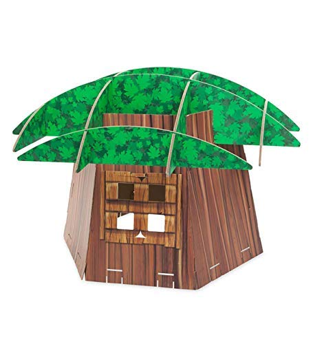 Big Tree Fort Building Kit for Kids - Heavy Duty Cardboard Construction - Indoor Playroom or Classroom - Play Space for Multiple Children - Approx. 7 H x 58 diam. by HearthSong® (Image #3)