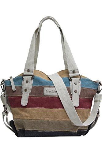Bolso para mujeres de la lona rayada multicolor / bolso de hombro Bolso de la lona de Shopper Hobo JX-125 gris