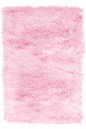 Faux Sheepskin Area Rug, 3'X5', Pink