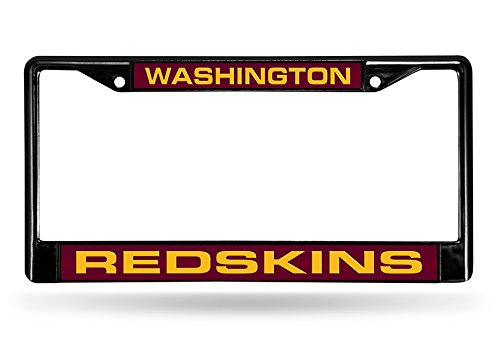 NFL Washington Redskins Laser Cut Inlaid Standard Chrome License Plate Frame, 6