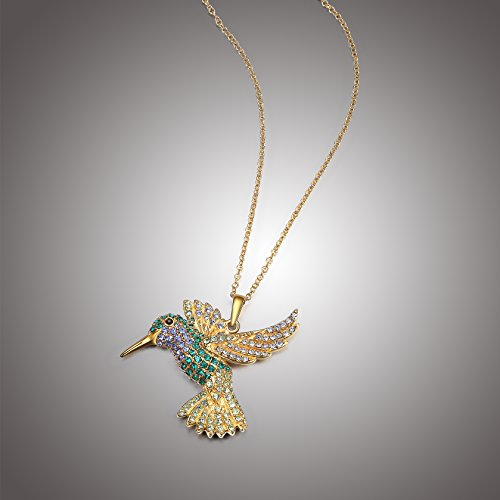 Hummingbird Sterling Pendant (18k Yellow Gold Plated Sterling Silver Green and Blue Hummingbird Pendant Necklace Made with Swarovski Crystal (18