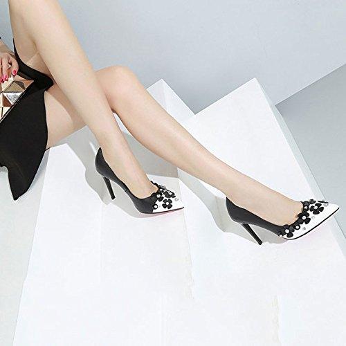 Cuir Chaussures Strass Chaussures Saisons Hauts DKFJKI Quatre Mixtes en Talons Femmes Fleur Black Robe de Joker Travail Mode des qPY1t8f