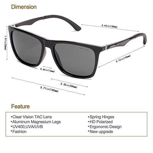 a4a49d4ebb Square Polarized Sunglasses Aluminum Magnesium Temple Spring Hinges  Wayfarer Style Sun Glasses Men Women Classic Retro