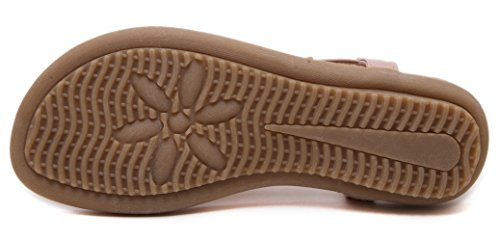 Flats Boho Sandals Beach Shoes Pink Women Honeystore Elastic Floral aqznpz